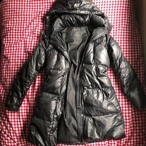 Black Down Filled GAP Long Puffer Coat